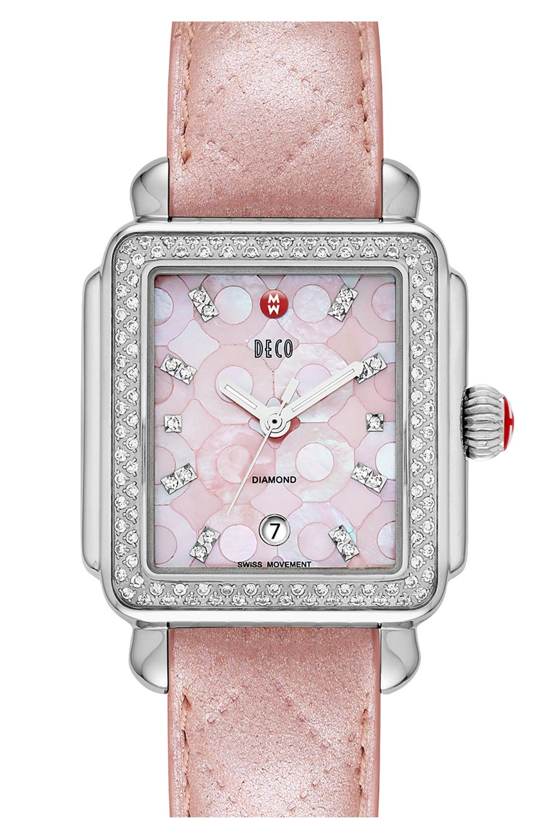 Alternate Image 3  - MICHELE 'Deco Diamond' Pink Mosaic Dial Watch Case, 33mm x 35mm