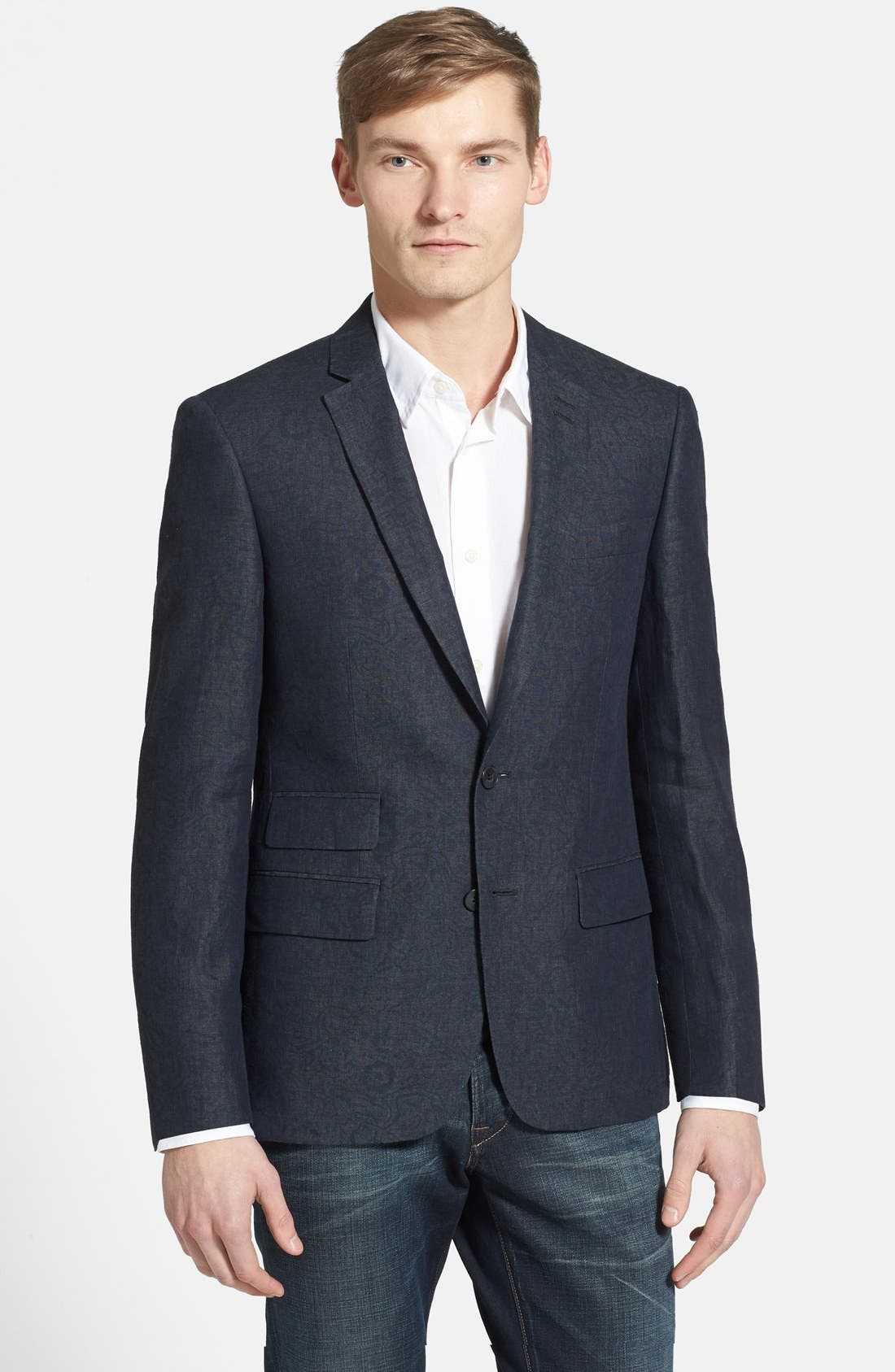 Main Image - John Varvatos Star USA Trim Fit Charcoal Linen Blazer