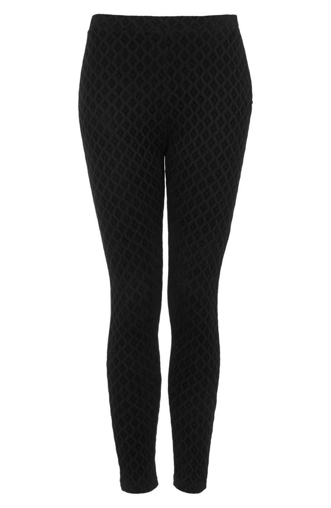 Alternate Image 3  - Topshop Diamond Flocked Leggings (Petite)