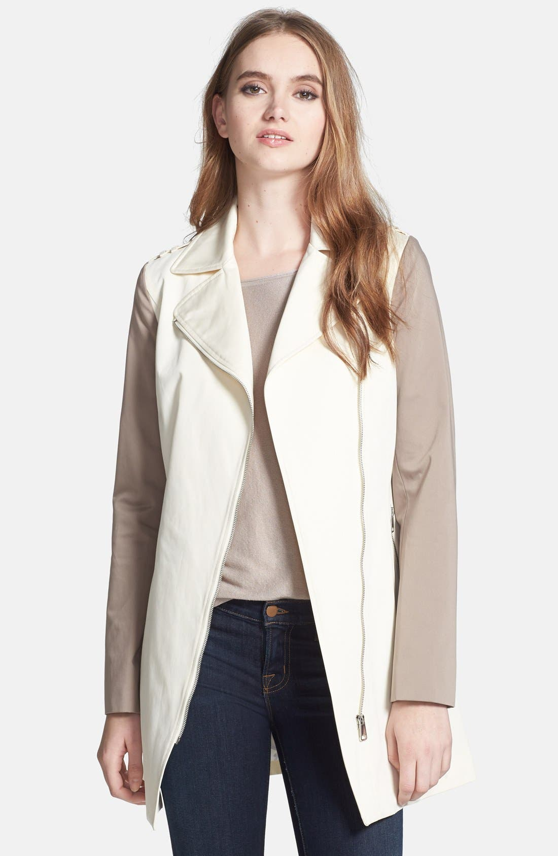 Alternate Image 1 Selected - Soia & Kyo Asymmetrical Two-Tone Trench Coat