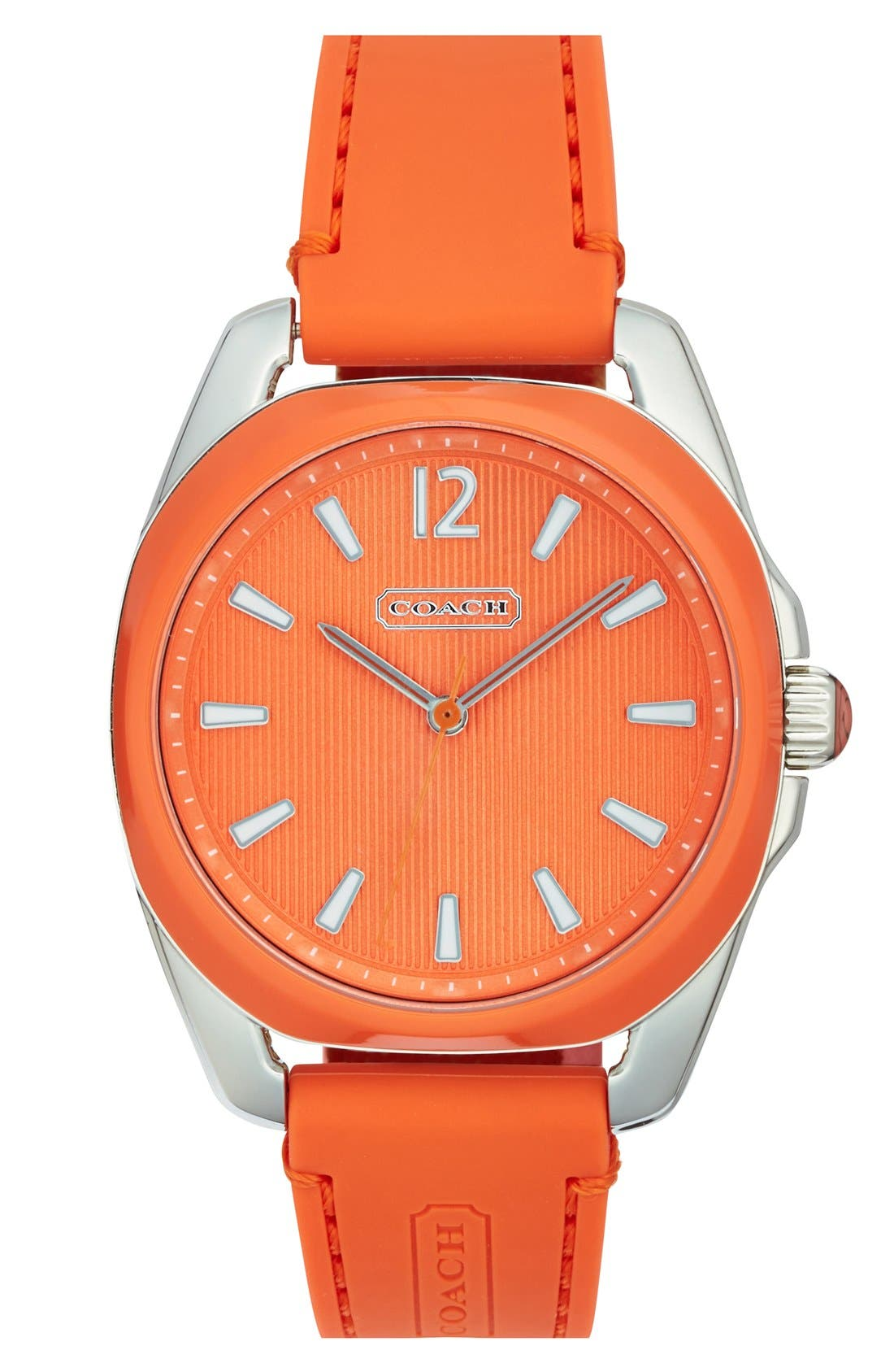 Main Image - COACH 'Teagan' Plastic Bezel Silicone Strap Watch, 38mm