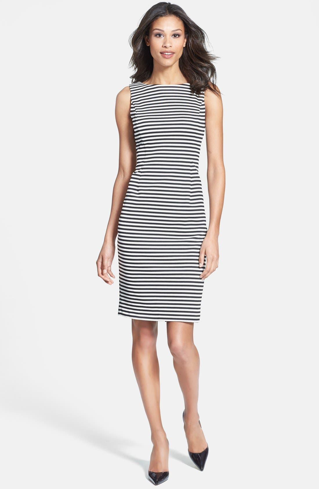Main Image - Isaac Mizrahi New York Stripe Sleeveless Ponte Knit Sheath Dress