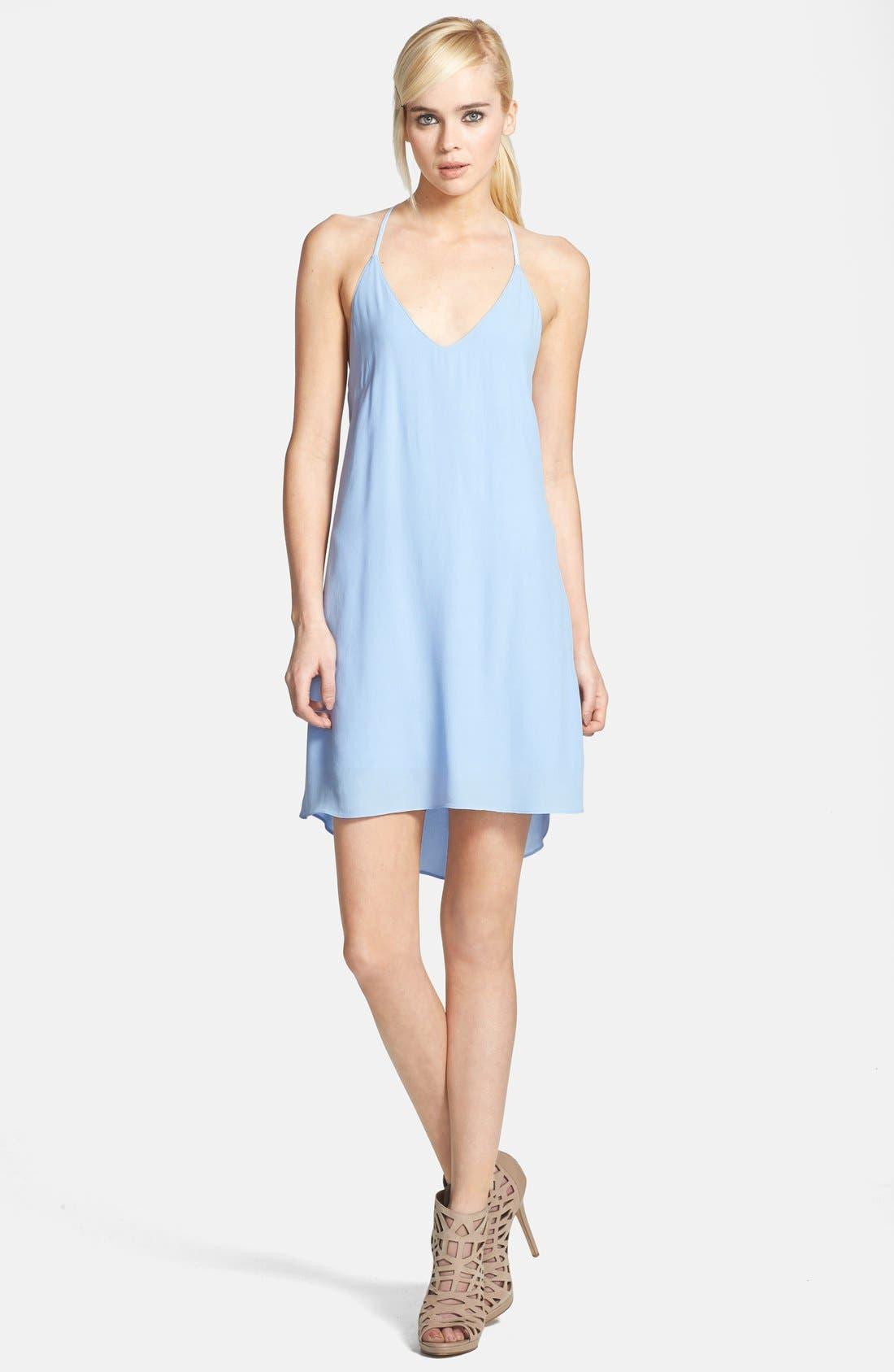 ASTR Lace Strap Silk Blend Dress,                         Main,                         color, Blue Bell
