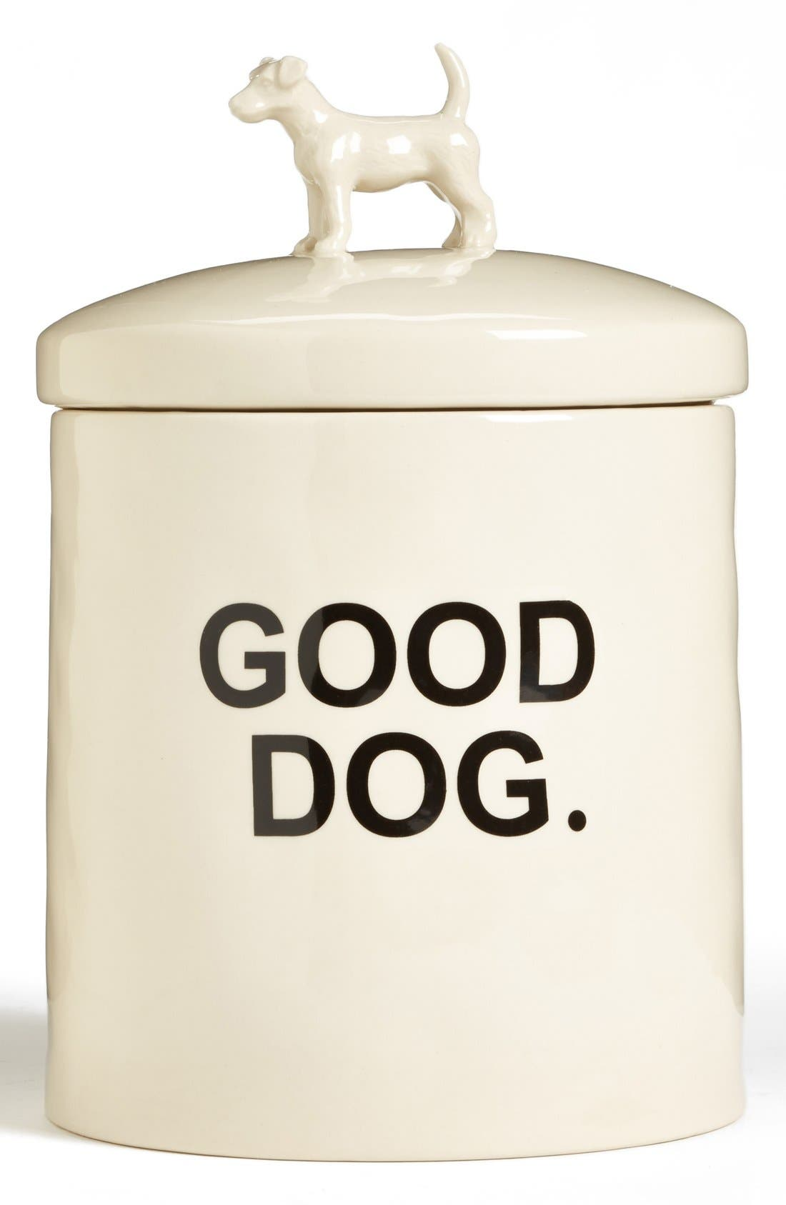 'Wilma' Dog Treat Jar,                             Main thumbnail 1, color,                             White