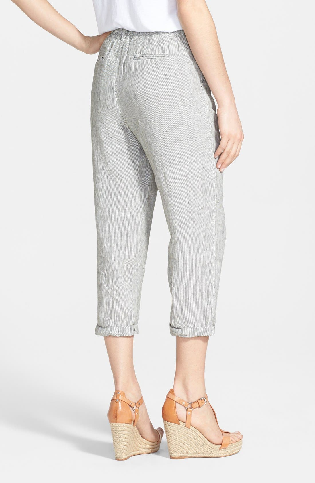 Alternate Image 2  - Caslon® Slub Linen Crop Pants