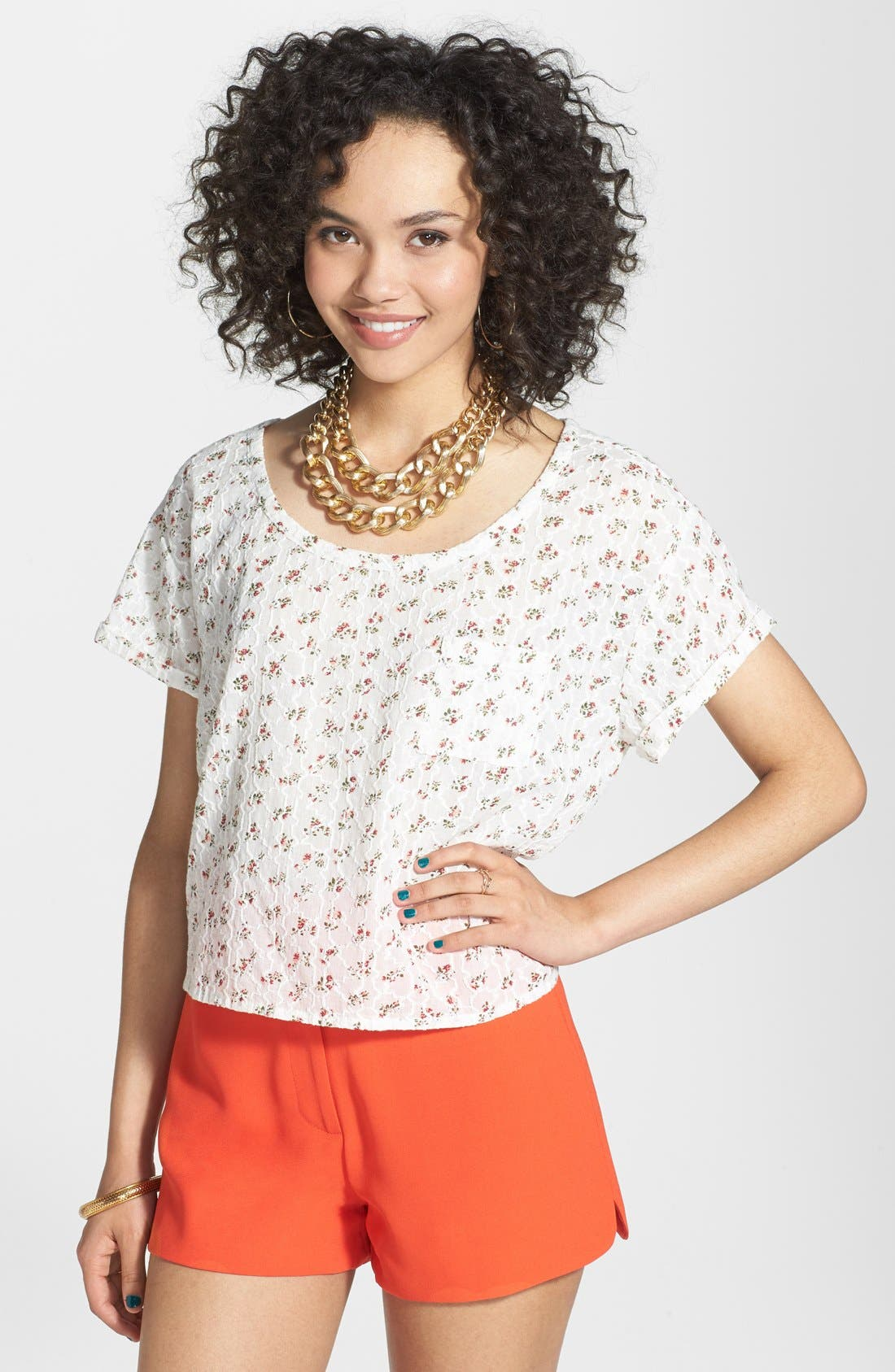 Main Image - Frenchi® Embroidered Cotton Tee (Juniors)