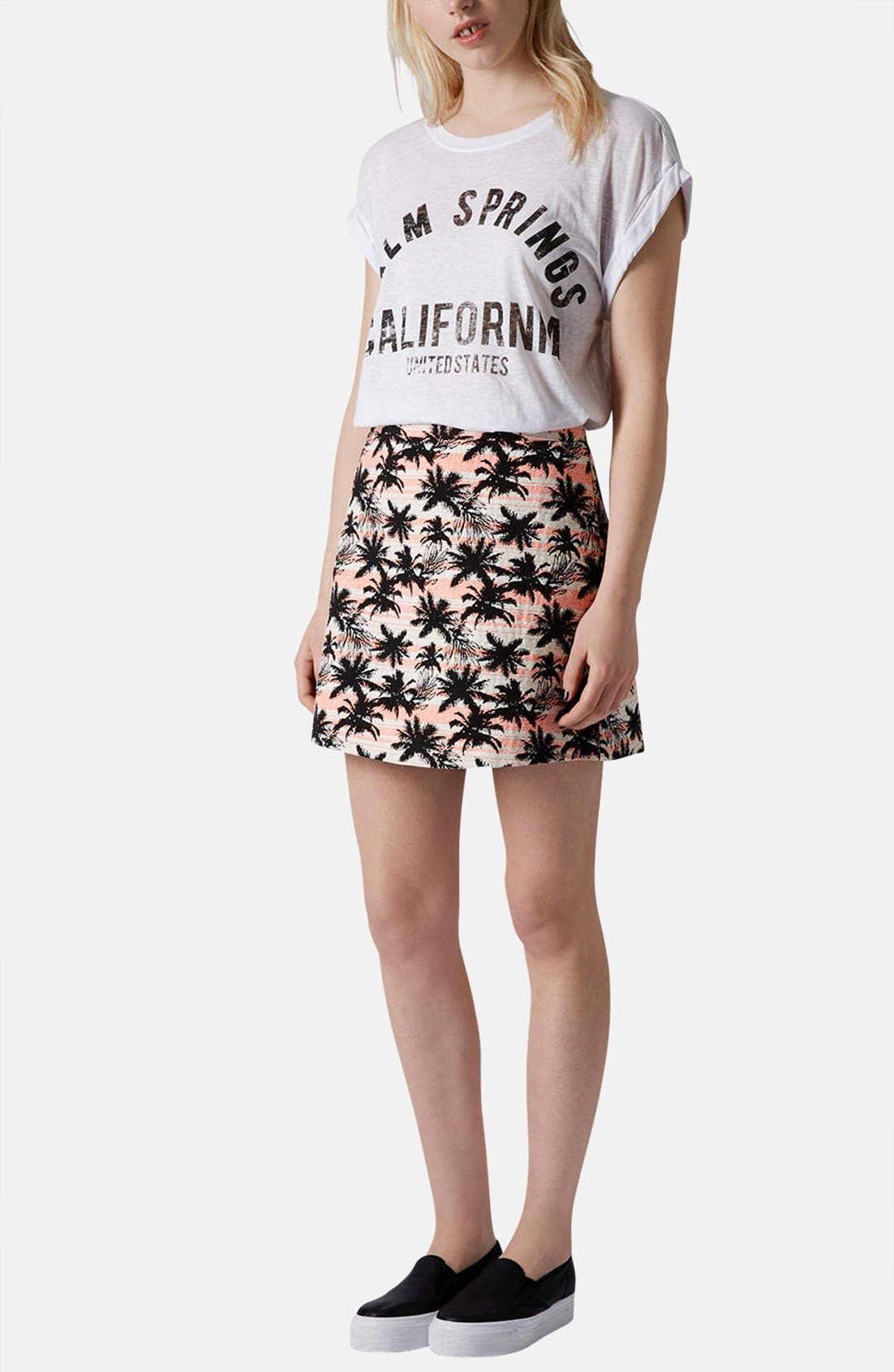 Alternate Image 5  - Topshop Palm Jacquard A-Line Skirt
