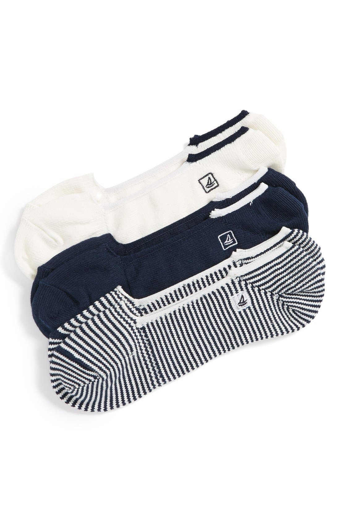 Skimmers Feed Assorted 3-Pack Socks,                             Main thumbnail 1, color,                             Navy/ White