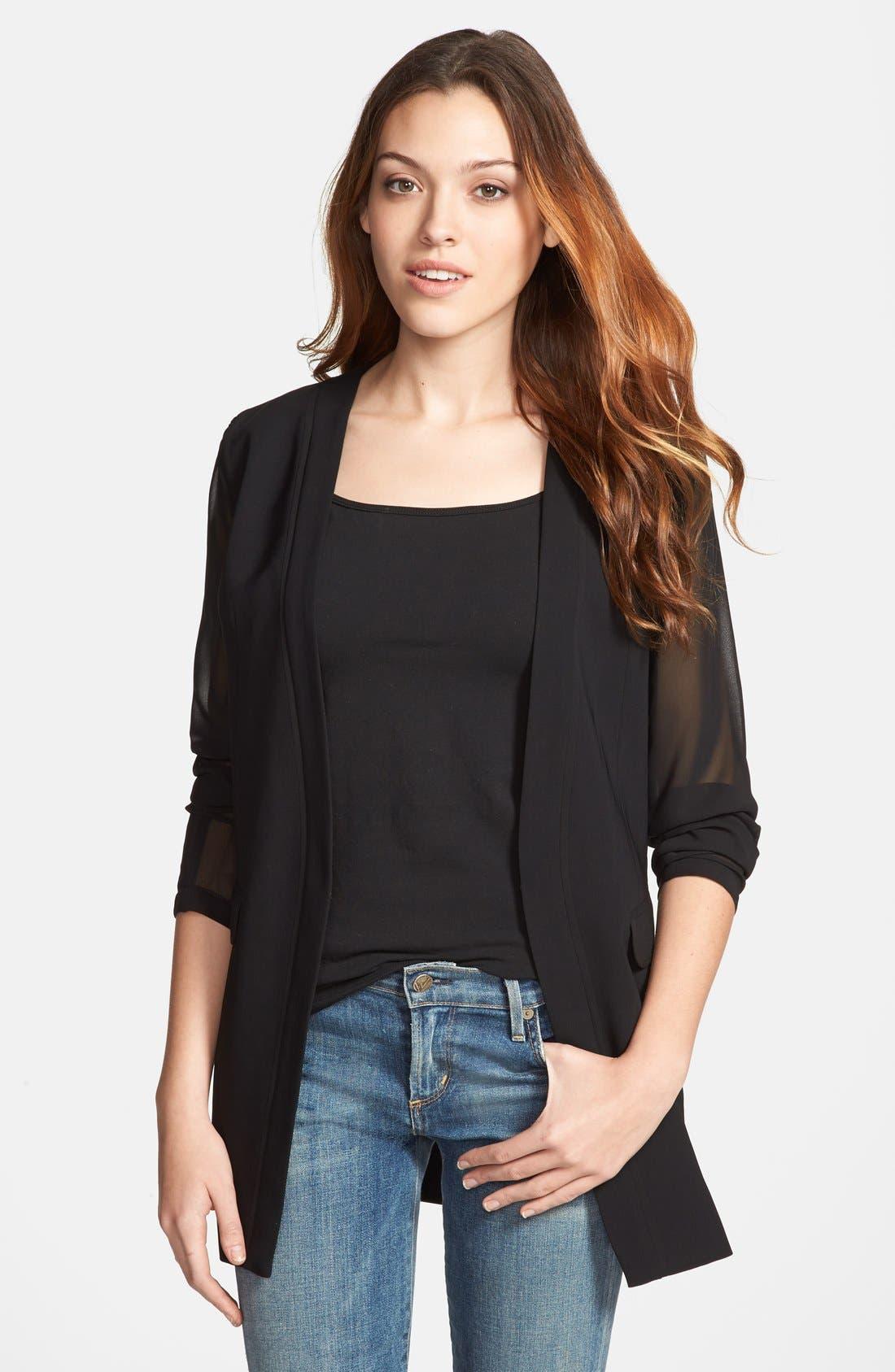 Sheer Sleeve Blazer,                         Main,                         color, Black