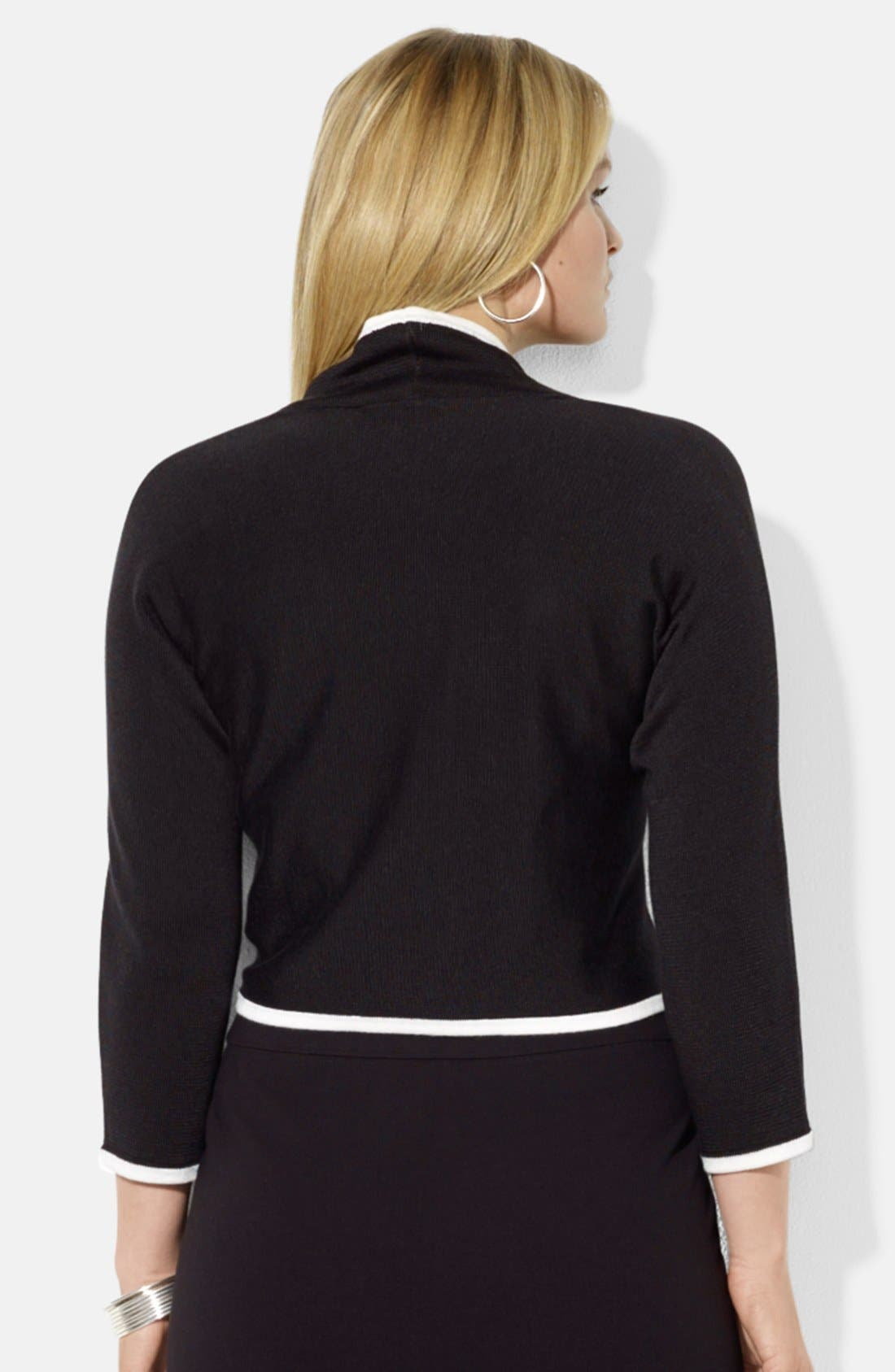 Alternate Image 2  - Lauren Ralph Lauren Three Quarter Sleeve Shrug (Plus Size)