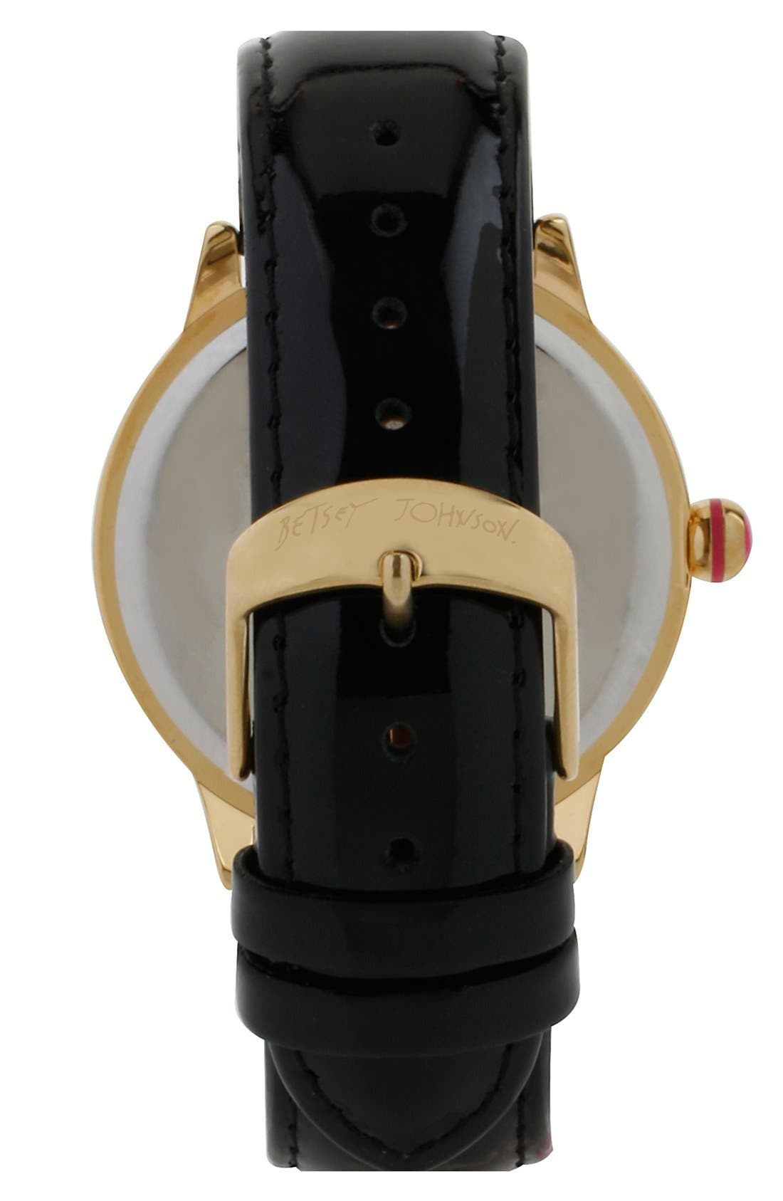 Alternate Image 2  - Betsey Johnson Skull Dial Leather Strap Watch, 41mm