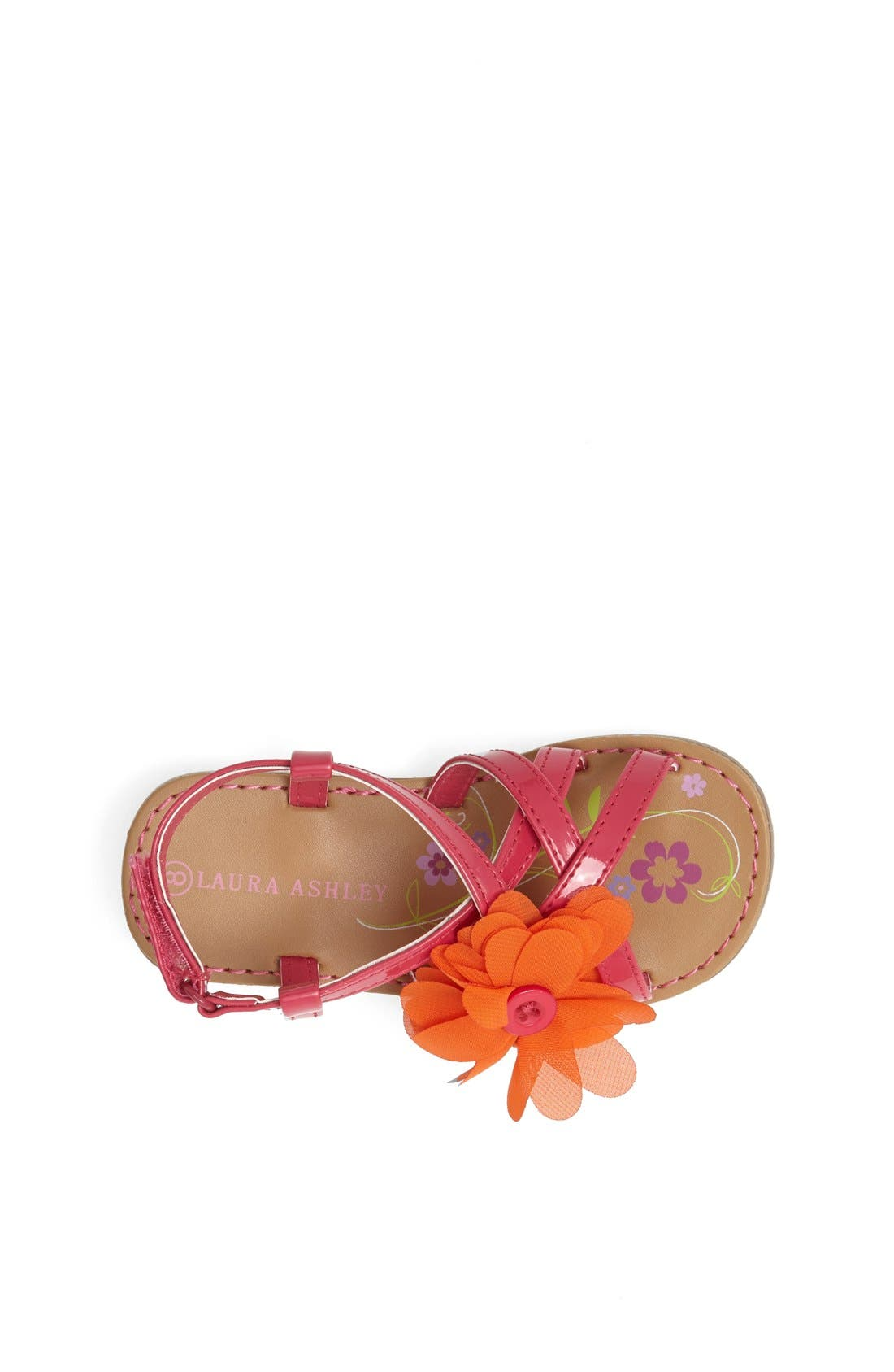 Alternate Image 3  - Laura Ashley Chiffon Flower Sandal (Walker & Toddler)