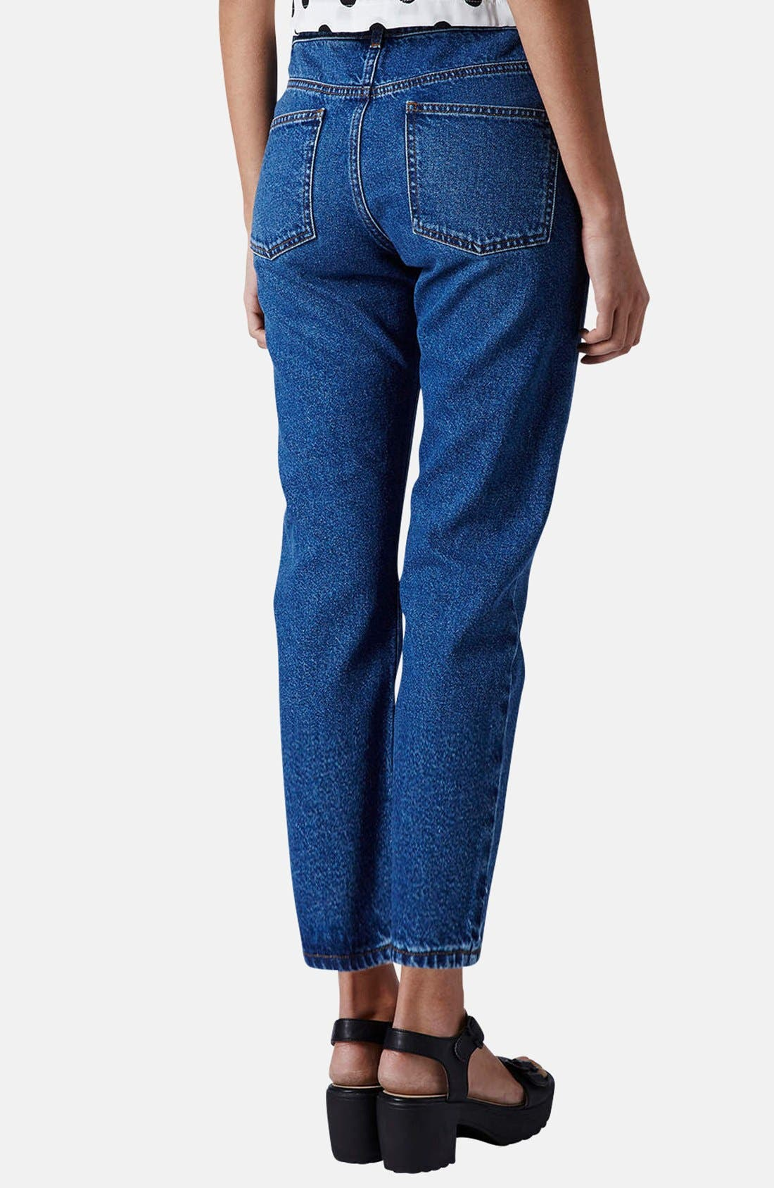 Alternate Image 2  - Topshop Moto Girlfriend Jeans (Blue)