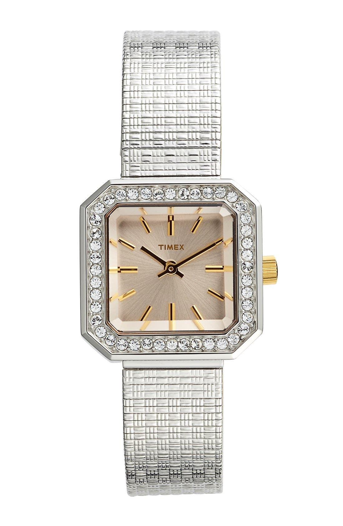Alternate Image 1 Selected - Timex® 'Starlight' Crystal Bezel Square Mesh Strap Watch, 25mm