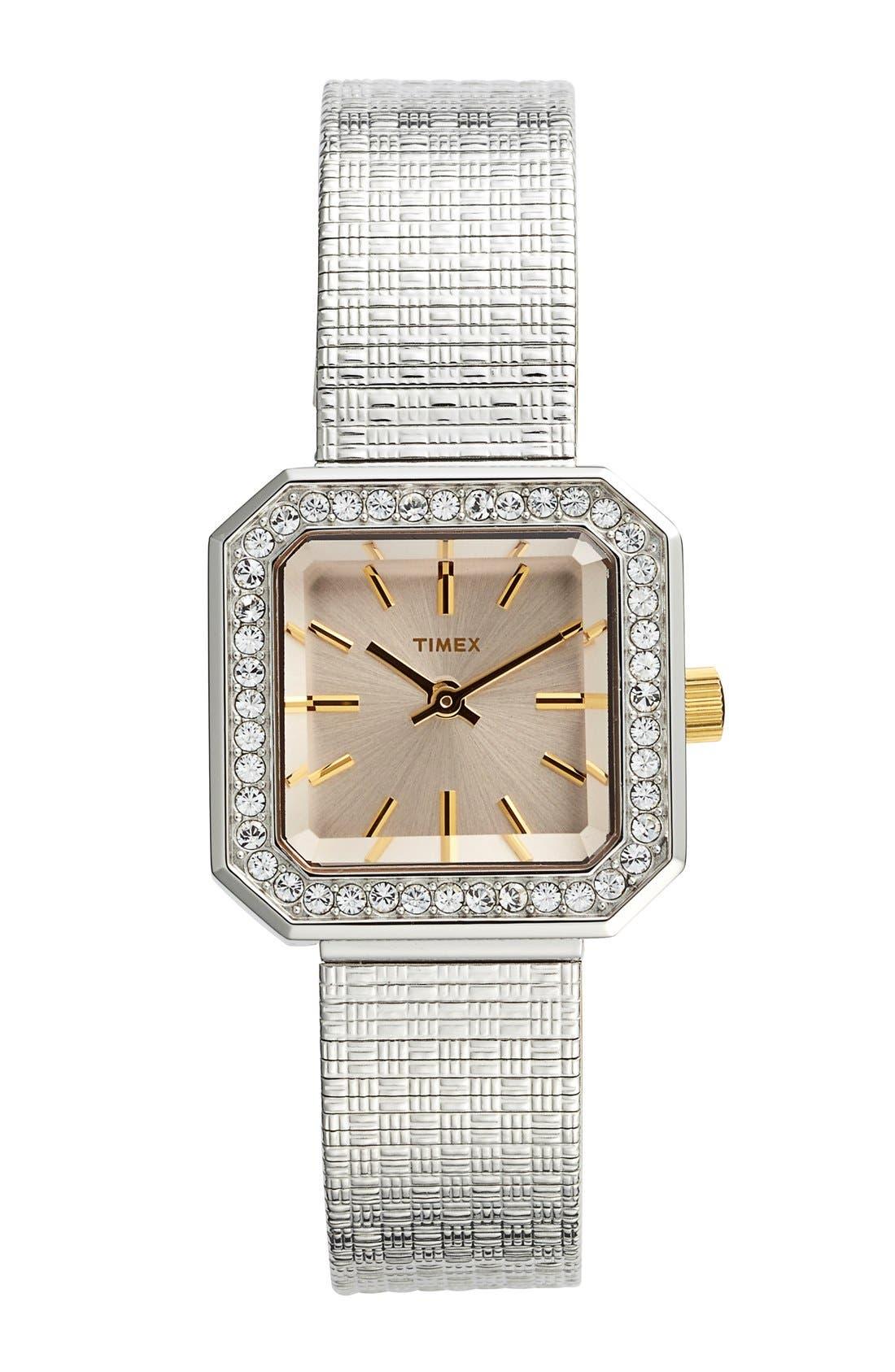 Main Image - Timex® 'Starlight' Crystal Bezel Square Mesh Strap Watch, 25mm