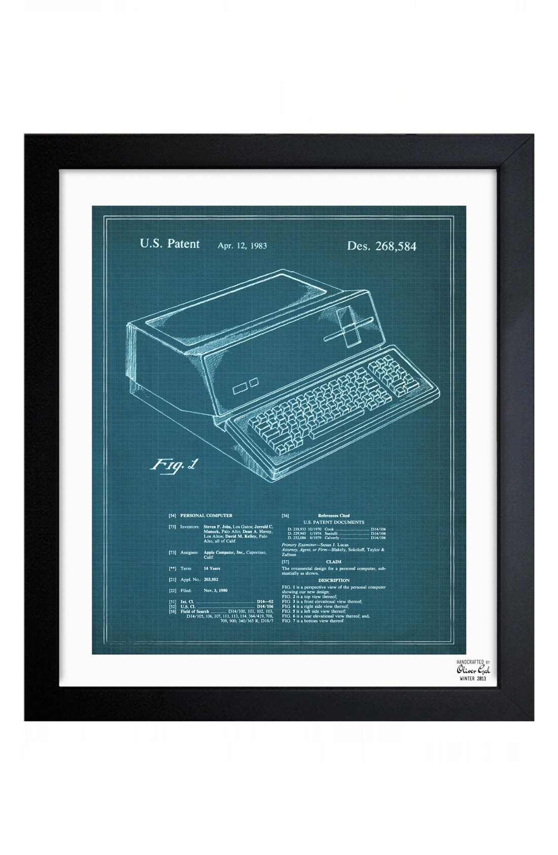 Alternate Image 1 Selected - Oliver Gal 'First Apple™ Personal Computer Blueprint' Framed Print