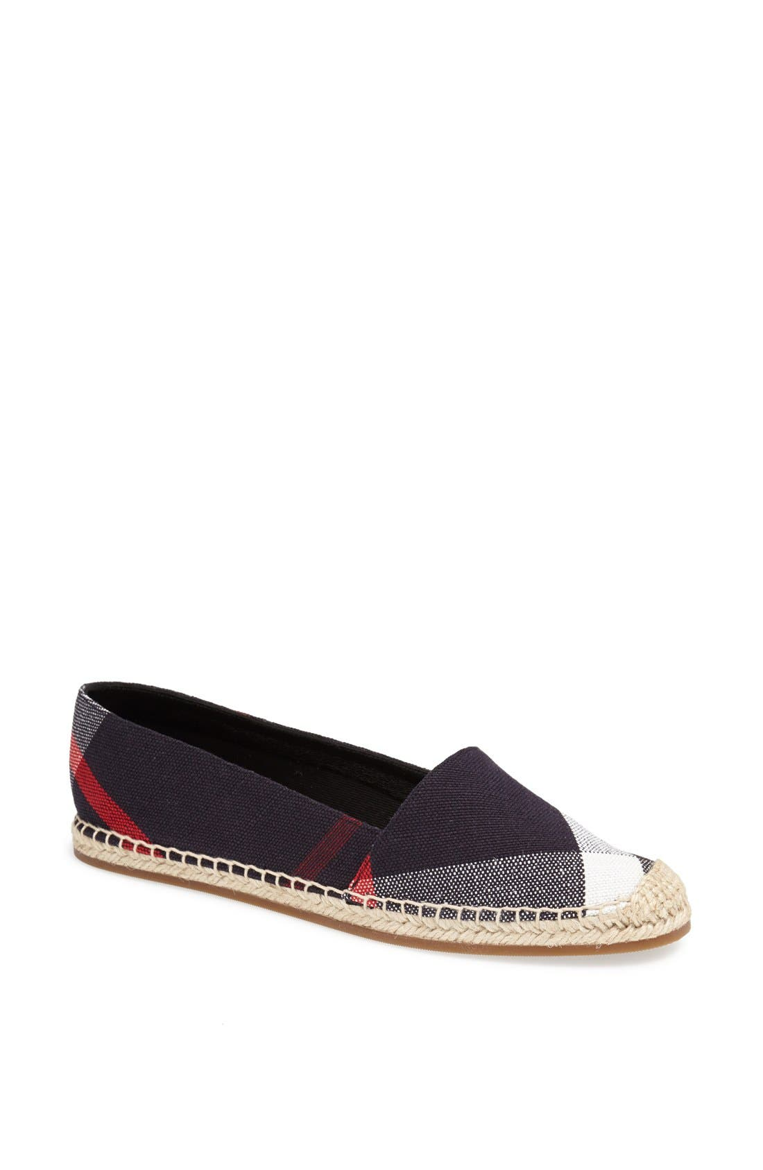Alternate Image 1 Selected - Burberry Hodgeson Check Print Espadrille Flat (Women)