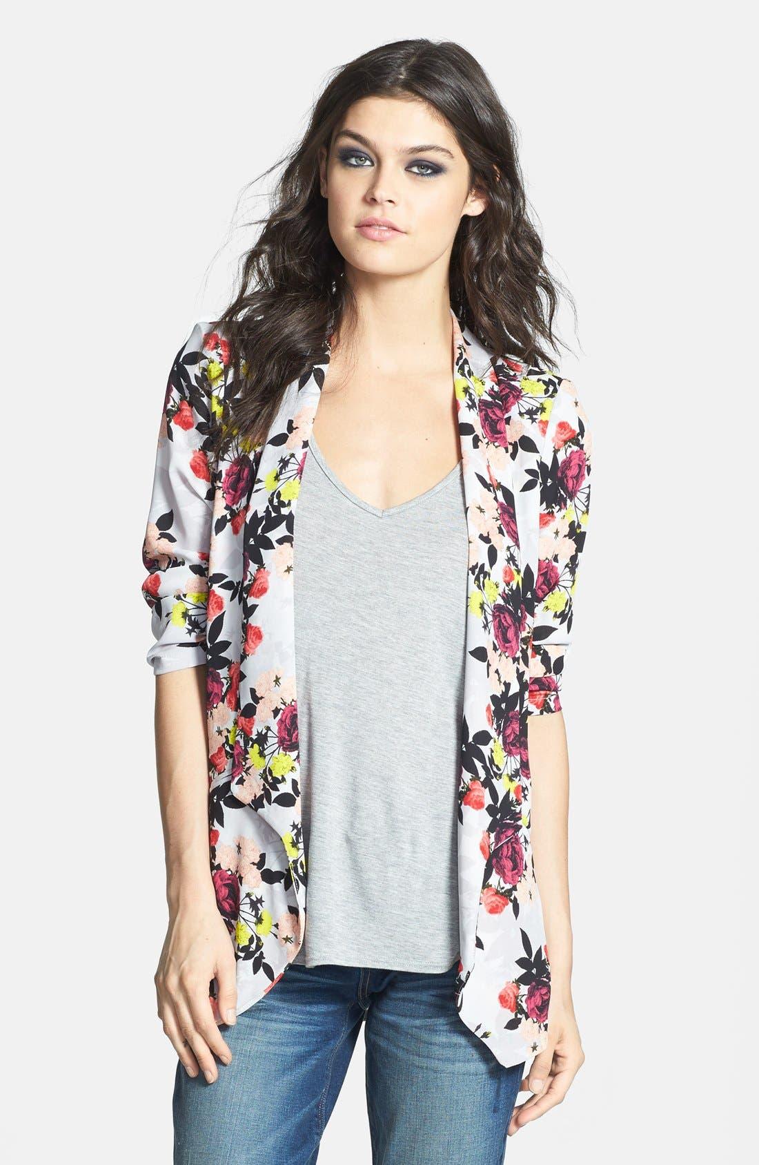 ASTR Drape Front Blazer,                             Main thumbnail 1, color,                             Pink Multi Floral