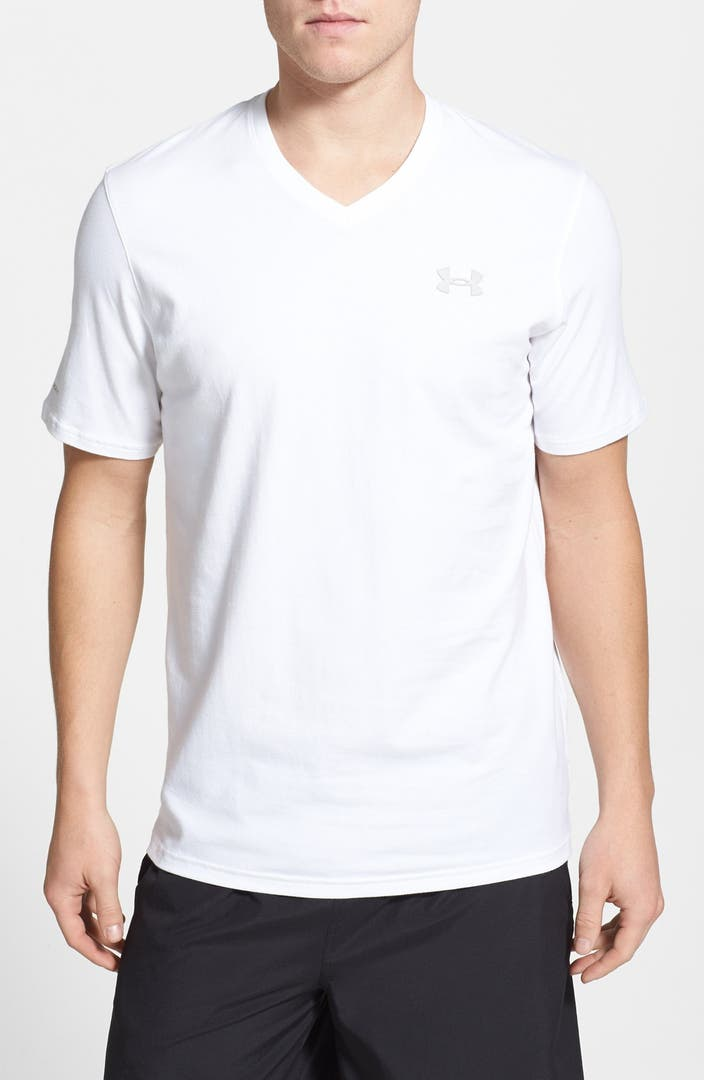 Under armour moisture wicking charged cotton loose fit v for Sweat wicking t shirts