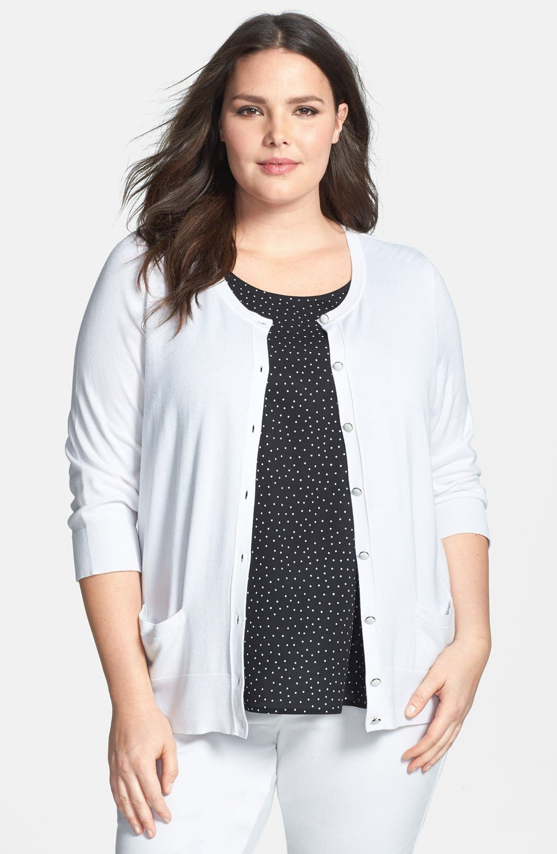 Alternate Image 1 Selected - Sejour Lightweight Button Front Cardigan (Plus Size)