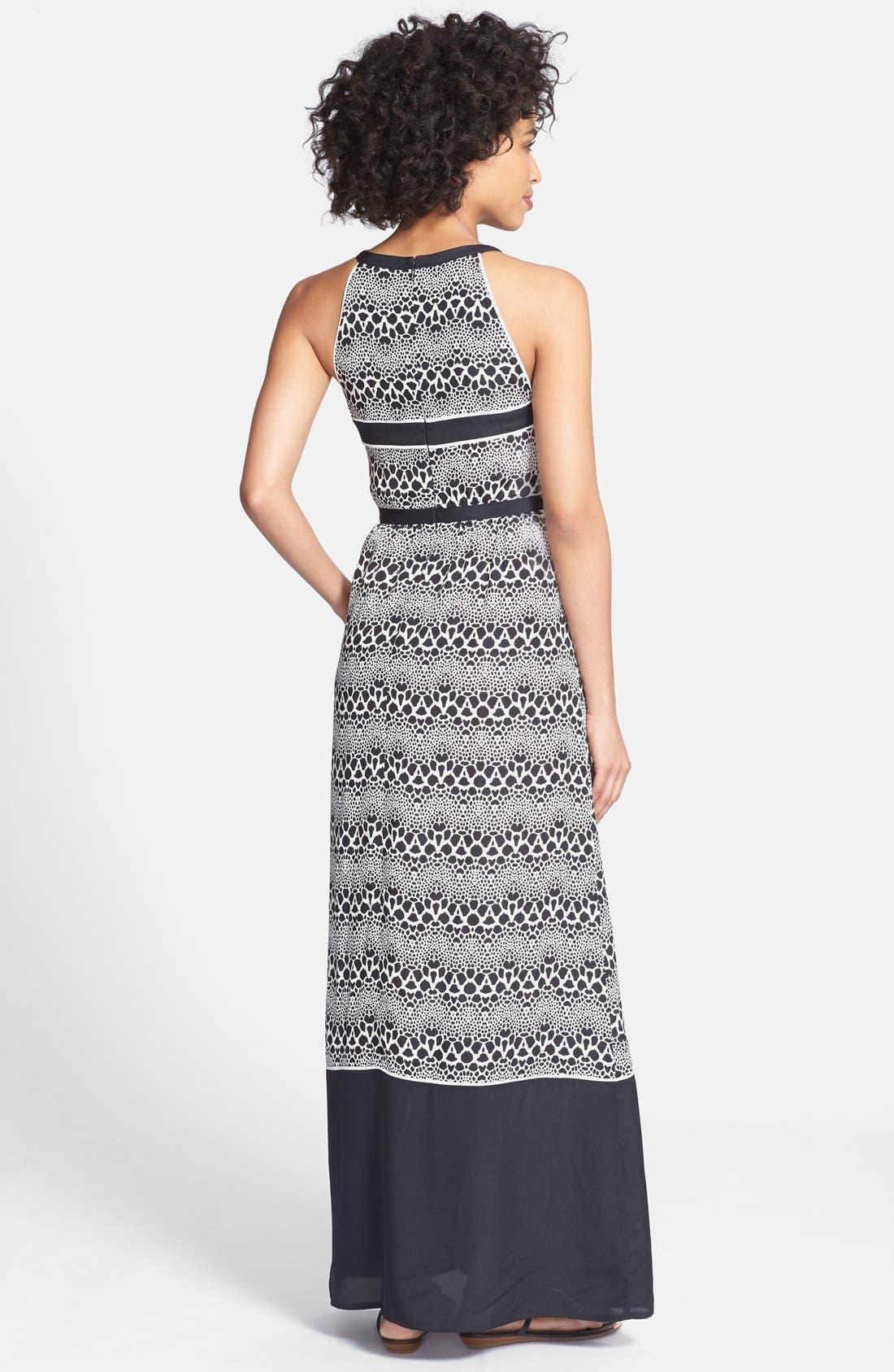 Alternate Image 2  - Ivy & Blu Cutout Print Chiffon Maxi Dress