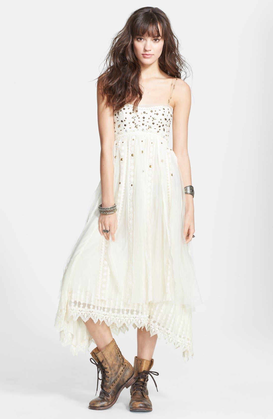 Alternate Image 1 Selected - Free People Stud Lace Trim Midi Dress