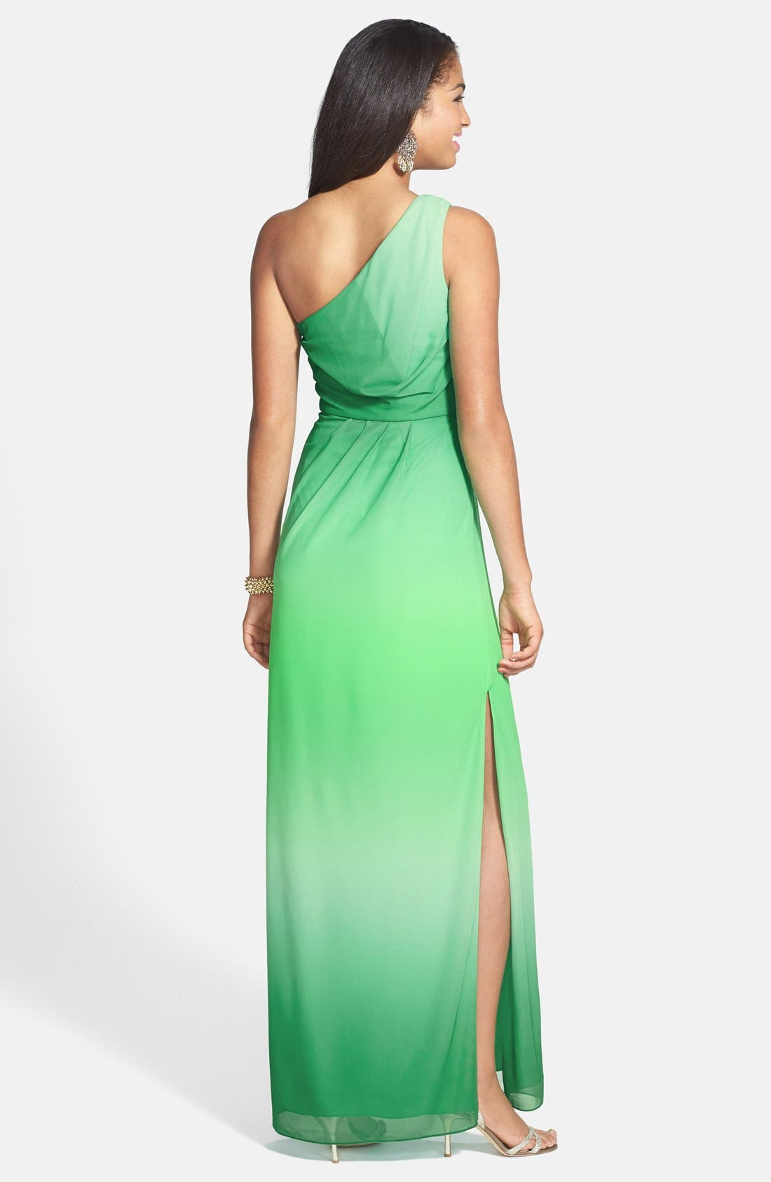 Alternate Image 2  - Hailey by Adrianna Papell One-Shoulder Ombré Blouson Jersey Gown