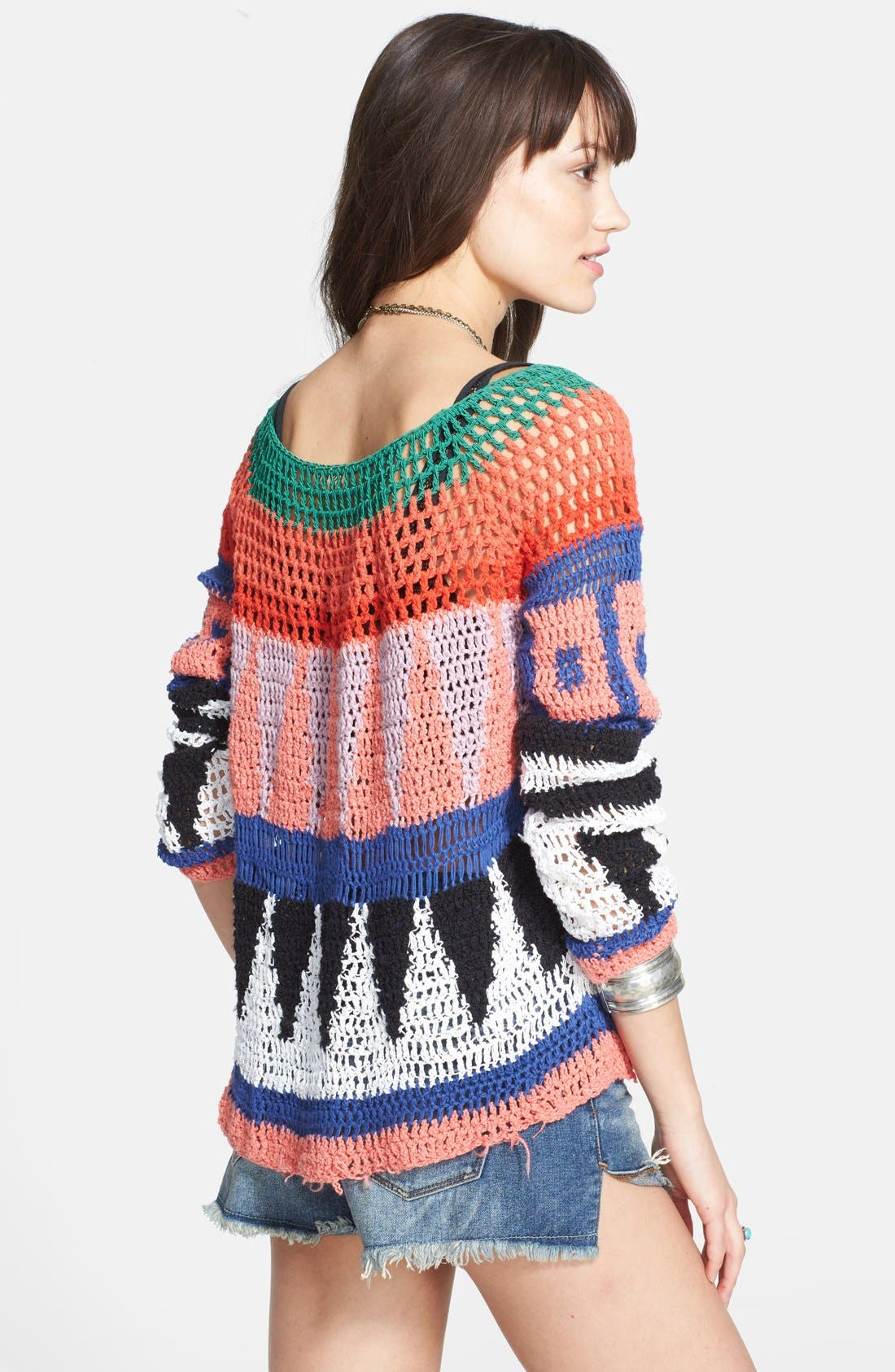 Alternate Image 2  - Free People 'Modern Art' Geometric Open Knit Pullover