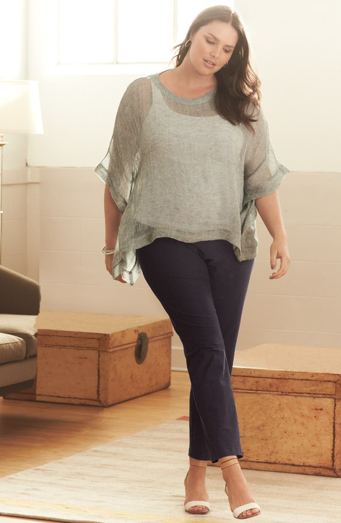 Alternate Image 1 Selected - Eileen Fisher Poncho Top, Tank & Ankle Pants