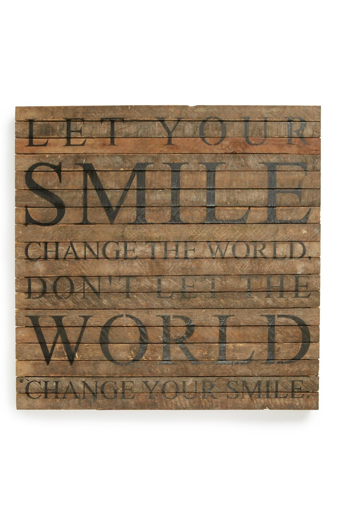 'Let Your Smile Change the World' Wall Art,                         Main,                         color, Brown