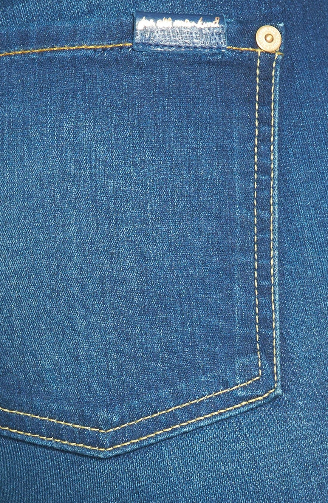 Alternate Image 3  - 7 For All Mankind® Mid Rise Crop Skinny Jeans (Bright Blue Sateen)