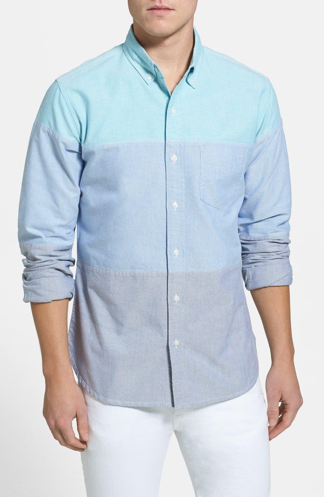 Alternate Image 1 Selected - Bonobos Slim Fit Colorblock Oxford Sport Shirt