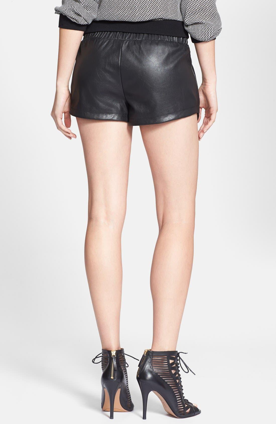 Alternate Image 2  - Max & Mia Faux Leather Athletic Shorts