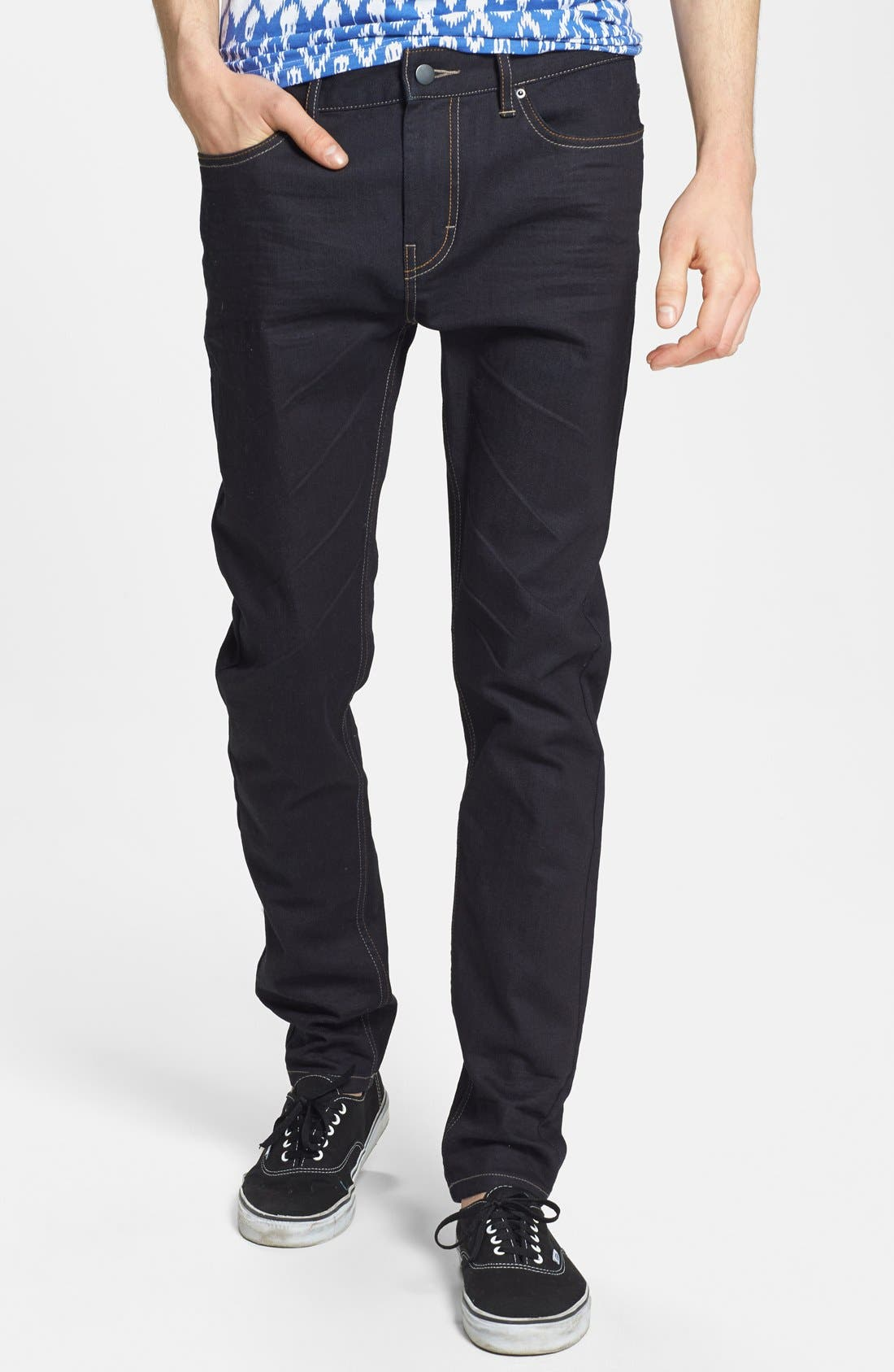 Alternate Image 1 Selected - Topman Coated Stretch Skinny Fit Jeans (Dark Blue)