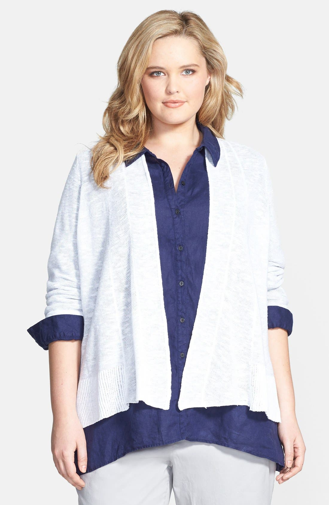 Alternate Image 1 Selected - Eileen Fisher Organic Linen & Cotton Shaped Cardigan (Plus Size)