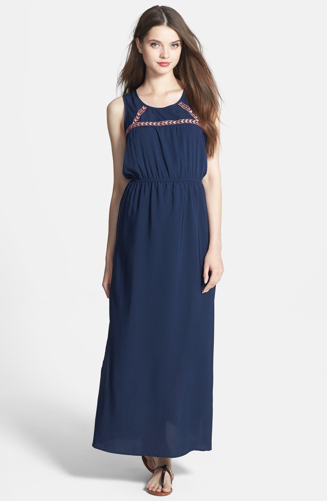 Alternate Image 1 Selected - Olive & Oak Embroidered Trim Maxi Dress