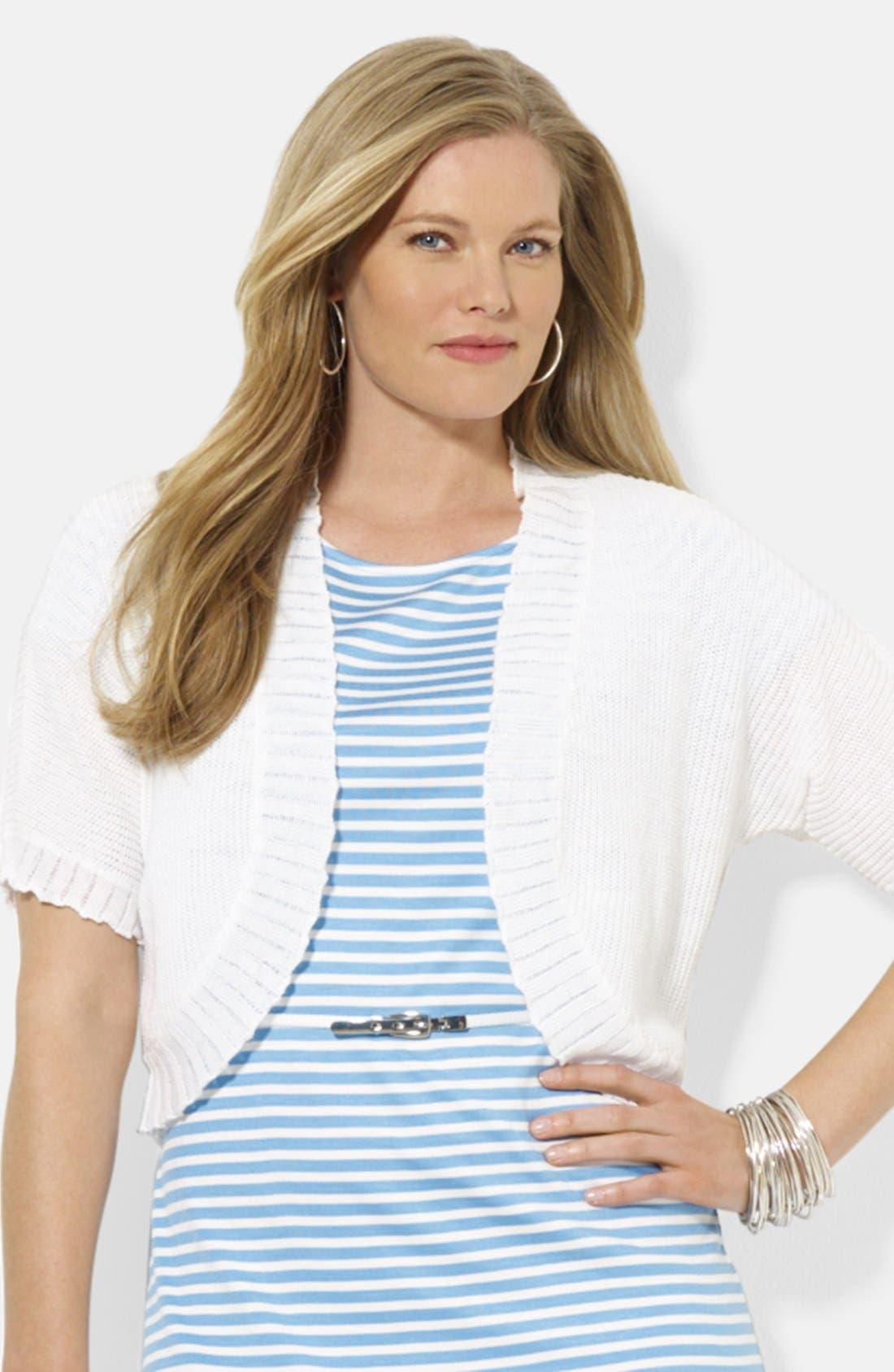 Main Image - Lauren Ralph Lauren Elbow Sleeve Shrug (Plus Size)