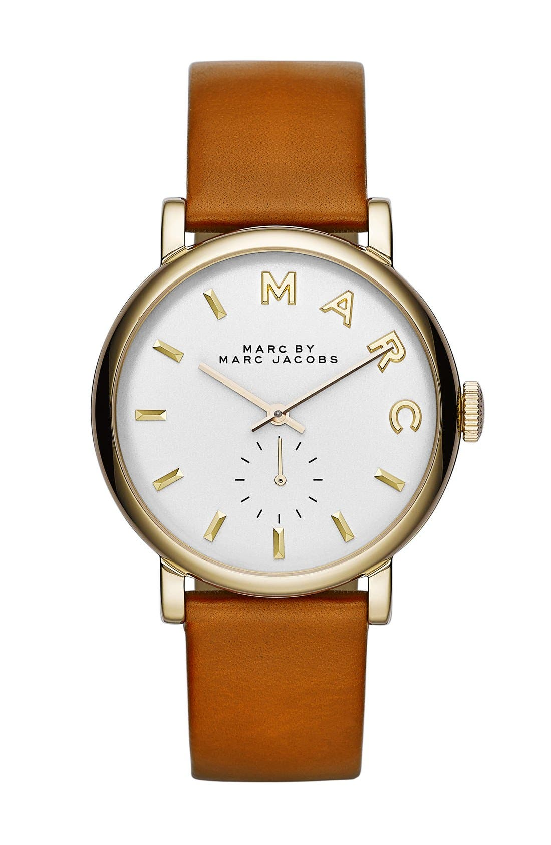 'Baker' Leather Strap Watch, 37mm,                         Main,                         color, Tan/ Gold