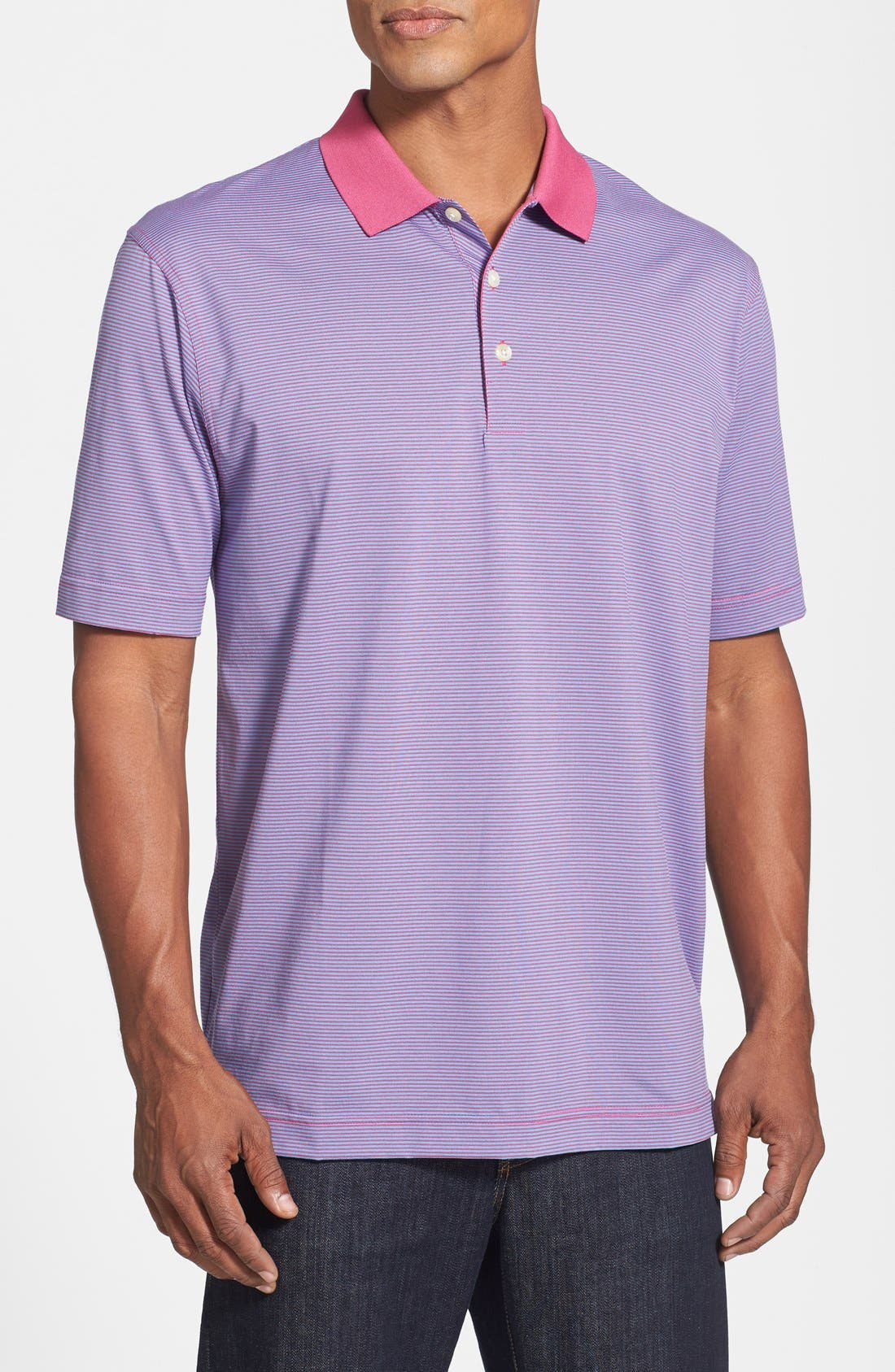 Alternate Image 1 Selected - Cutter & Buck '70/2's Performance Carson Stripe' Regular Fit Polo (Big & Tall)