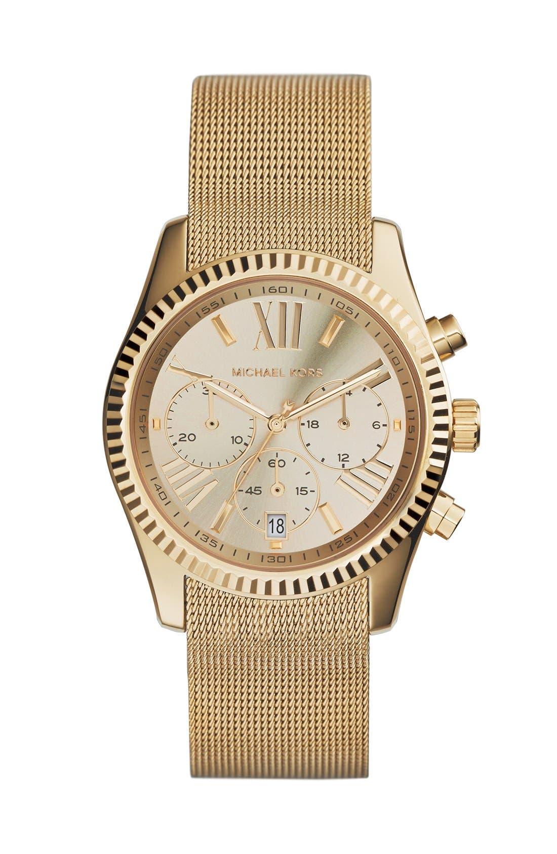 Main Image - Michael Kors 'Lexington' Chronograph Mesh Strap Watch, 37mm