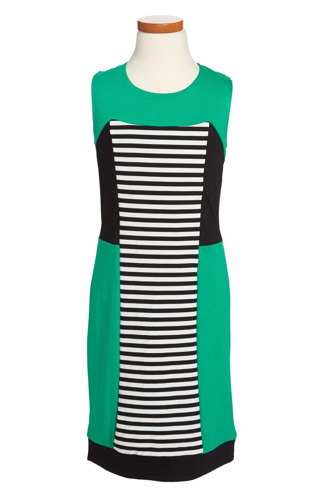 Alternate Image 1 Selected - Nicole Miller Stripe Colorblock Dress (Big Girls)