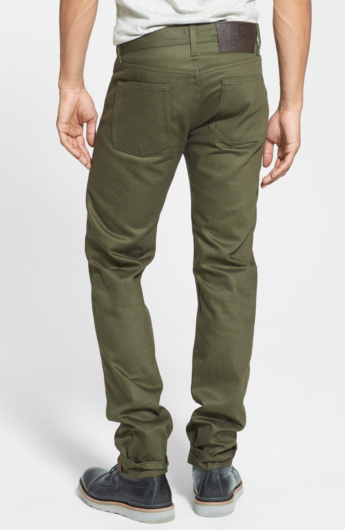 'Weird Guy' Slim Fit Jeans,                             Alternate thumbnail 2, color,                             Khaki Green Selvedge Chino