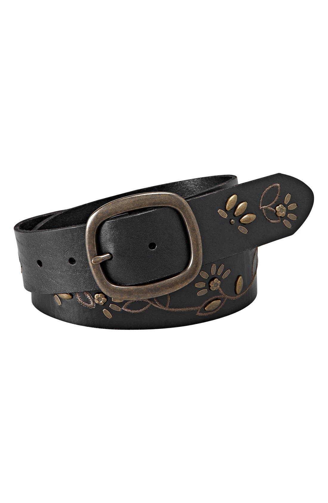 Main Image - Fossil Floral Studded Vine Leather Belt