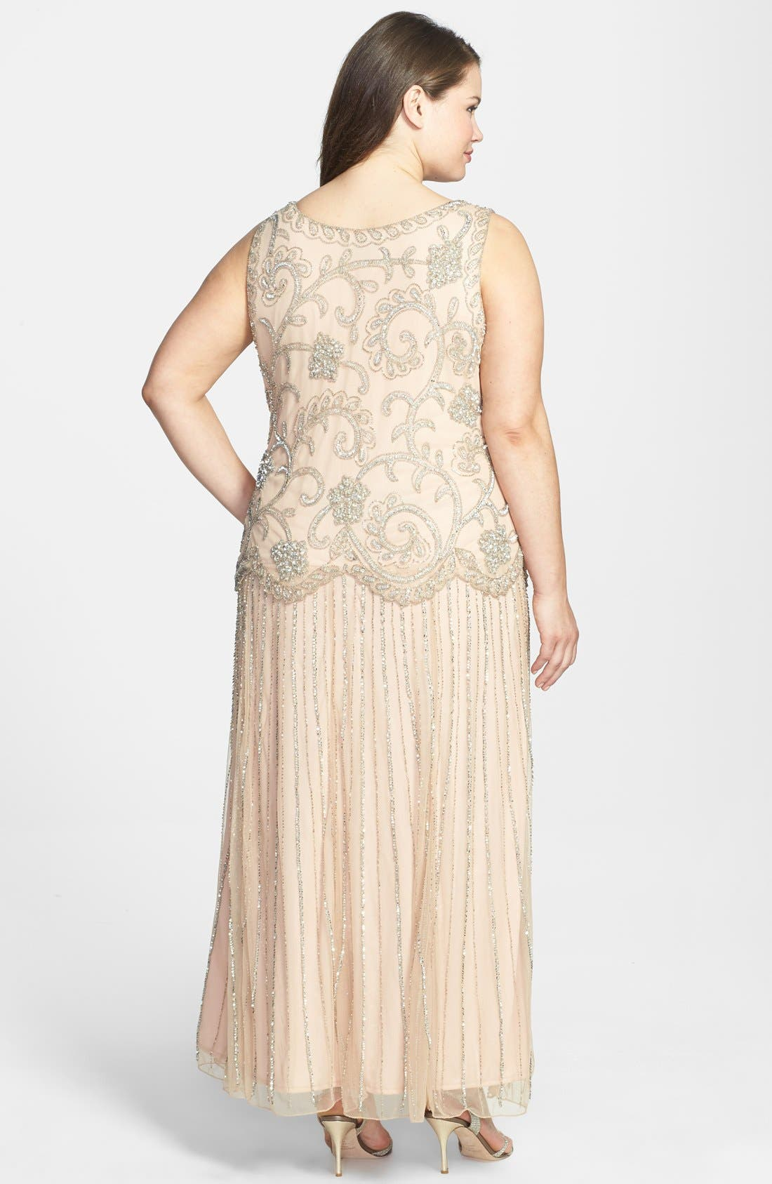 Alternate Image 2  - Pisarro Nights Beaded Mesh Dress (Plus Size)