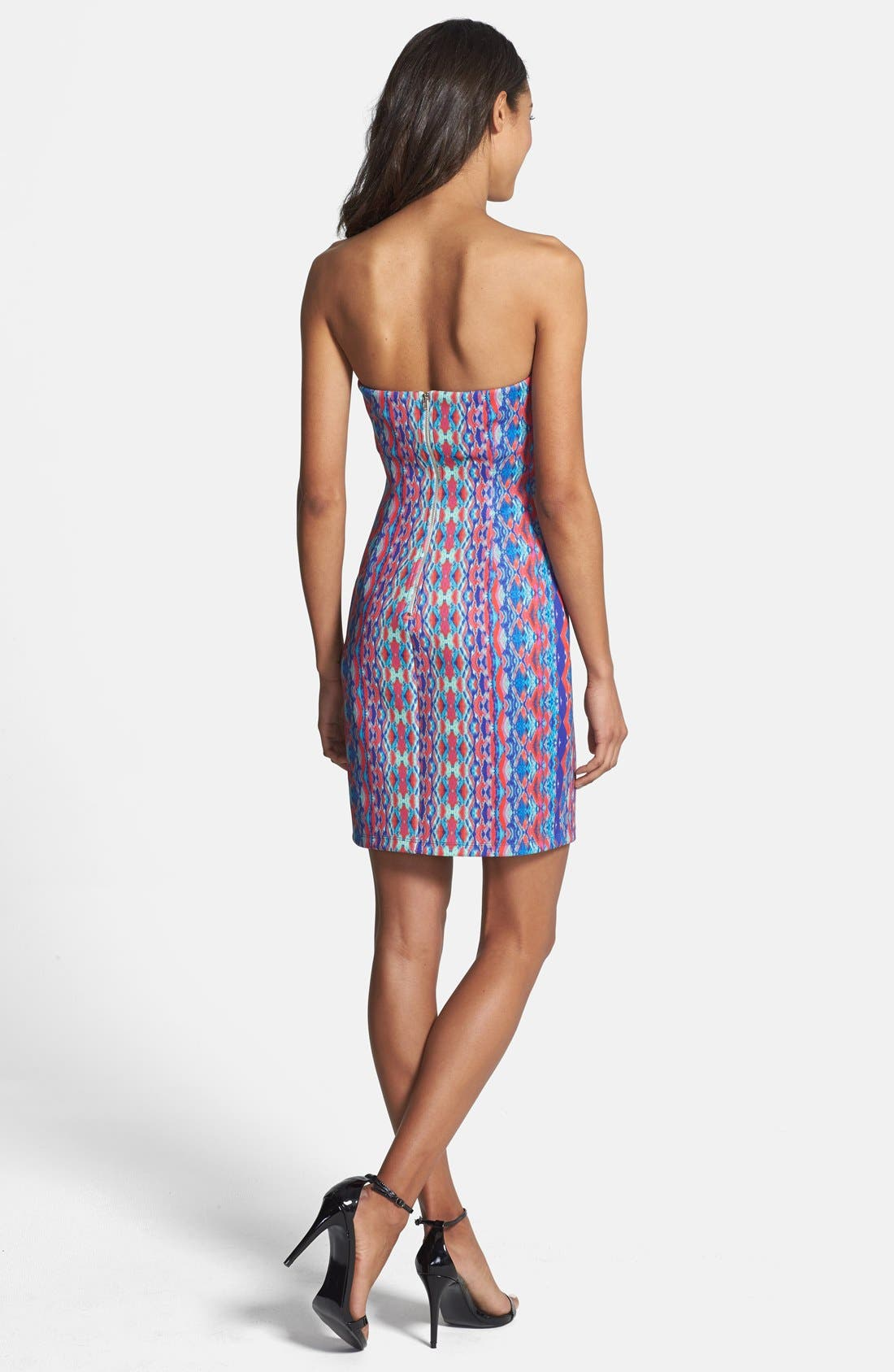 'Athea' Strapless Print Dress,                             Alternate thumbnail 2, color,                             Pink/ Blue
