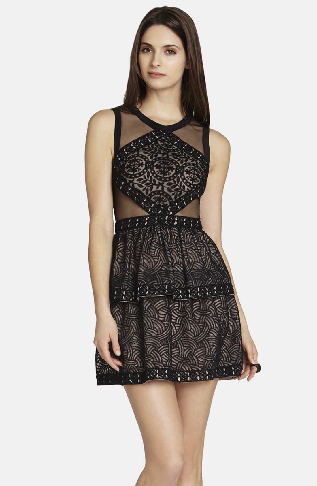 Main Image - BCBGMAXAZRIA 'Joselyn' Mesh Inset Fit & Flare Dress
