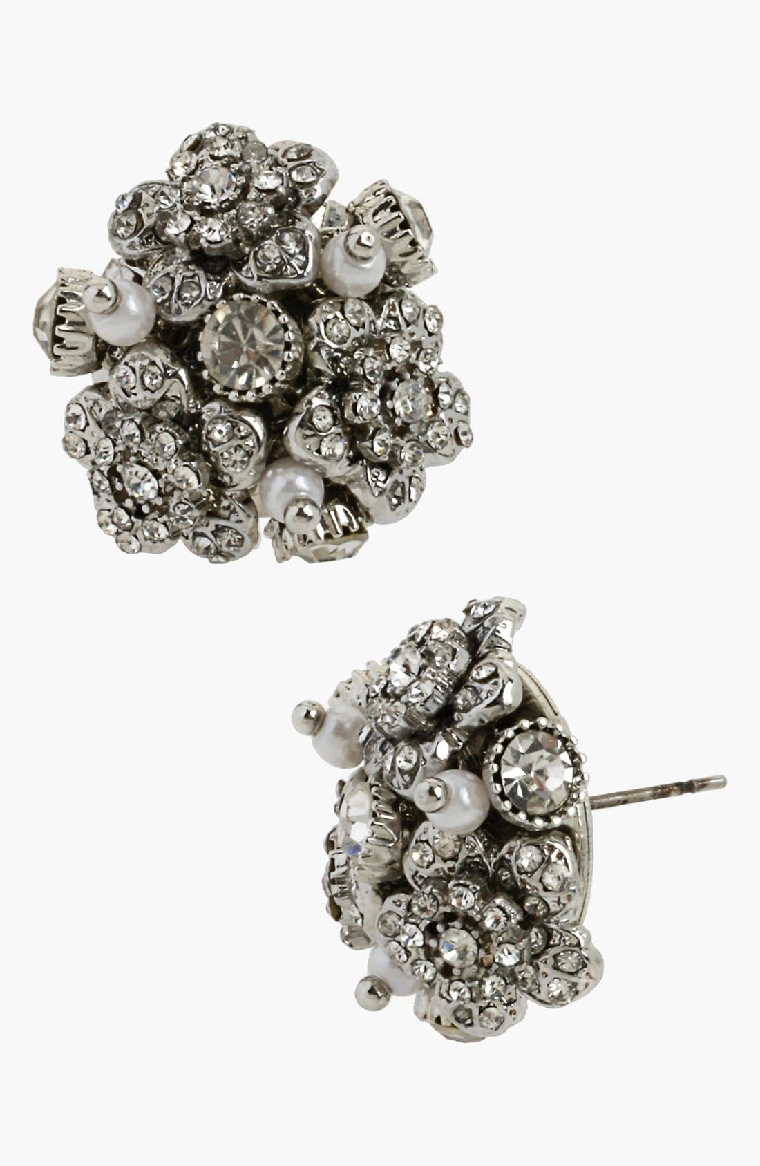 Alternate Image 1 Selected - Betsey Johnson 'Pretty Punk Pearl' Flower Cluster Stud Earrings