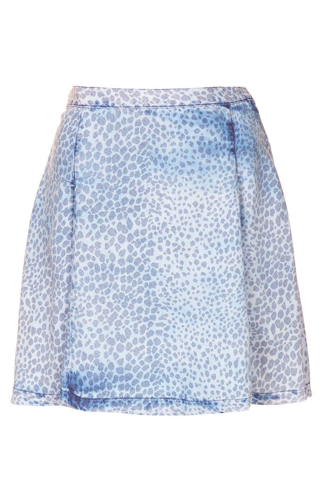 Alternate Image 3  - Topshop Leopard Print Denim Skater Skirt