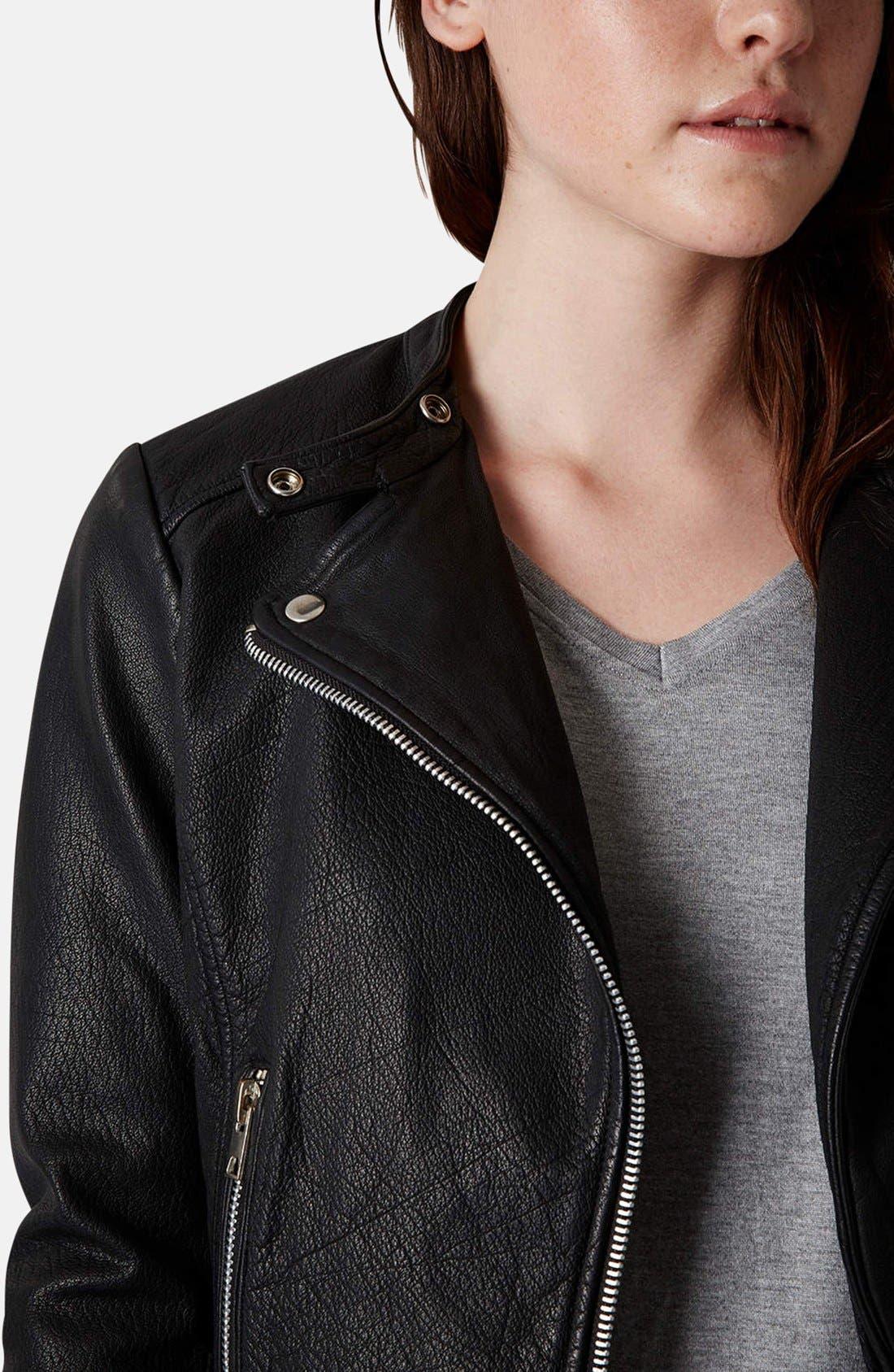 Alternate Image 4  - Topshop Collarless Leather Biker Jacket