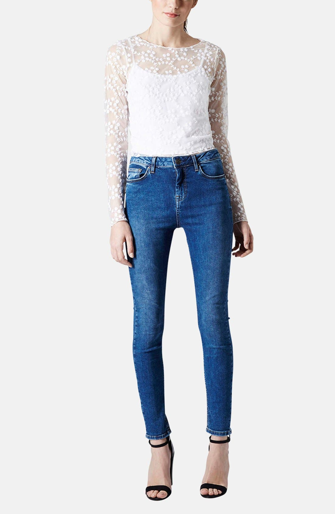 Alternate Image 5  - Topshop Embroidered Floral Mesh Top
